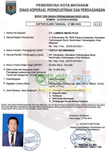 Surat Ijin Usaha Perdagangan lombok tour plus